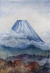 <富士山> SM 絹地油彩