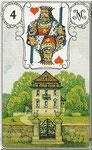 Lenormand Karte Bild Nr.4 *Das Haus*Lenormandkarten Wahrsagekarten Blaue Eule*