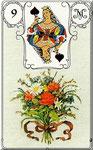 Lenormand Karte Bild Nr.9 *Die Blumen*Lenormandkarten Wahrsagekarten Blaue Eule*