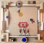 VICENTE ROJO, Salón  Italo Calvino 1, técnica mixta/madera, 44x44cm, 2011.