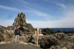 室戸岬の海岸には,いろいろな形をした岩礁が見られる。その一つが,悲しい伝説の残る「びしゃご巌」。