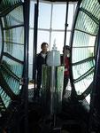 灯台の光源と反射鏡