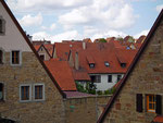 Blick auf die steilen Dächer der alten Patrizierhäuser