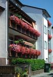 Schöne Blumenpracht auf schönen Holzbalkons