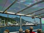 Die «Schiff-Bus»-Passagiere geniessen die Fahrt auf dem Wasser