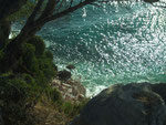 Am frühen Morgen Blick hinunter auf die Cala Luna