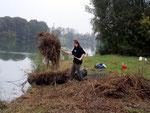 Kräftige Helfer des Forstamtes verladen das Mähgut aufs Boot.