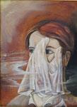 Portrait mit taschentuch 30 x 40 cm Öl auf Leder