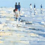 Beachwalk 04, 80x80 cm, 2020, Öl auf Leinwand