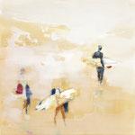 The surfers 01, 80x80 cm, 2018, Öl auf Leinwand