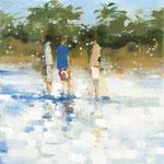 Discussion at the beach, 80x80 cm, 2020, Öl auf Leinwand