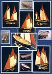 Etude et aménagement de voiliers 19 m, 25 m et de 30 m. Plans pont et maquette Hervé Arnoul pour la Huet Holdings.