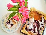 Feiner Ricotta Blechkuchen mit Olivenöl.