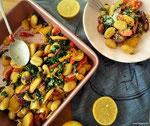 Gnocchi mit buntem Gemüse und Bergamotte.