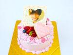 4号 総額6,430円(ケーキカラー・写真プレート・アイシングクッキー・小花・アラザン)