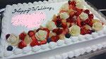 ウェディングケーキ、スクエア型。バラのチョコレート細工付