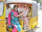 Riksha ride to church with Apoorva and Anitha