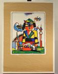 """""""Kalle der Dortmunder"""", Siebdruck auf Packpapier, handsigniert, 1995, herausgegeben von den Ruhr-Nachrichten, Auflage (1000 o. 2000?), Motiv: 42x33cm, Blatt: 70x50cm, 190,-€"""