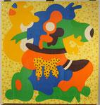 """the happy cow"", ca. 1970, Siebdruck, handsigniert, Blatt: 58 x 52 cm Rahmen: 83 x 76 cm, 120,-€"