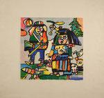 """""""Prinz Grünewald - Die Geschwister"""", Siebdruck, signiert, 1992, Künstlerexemplar, 25x25cm, 175,-€"""
