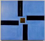 15.1 Quadrat mit Schwarz und Blau, 49 x 53, 2016