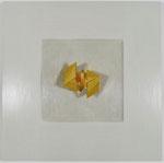 26.2 von 5 Poliment vergoldeter Würfel in zwei Hälften auf poliertem weiß-grauem Poliment 46x46cm 2018