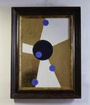 7.1 Gold mit schwarzen und blauen Punkten, 72 x 55, 2012