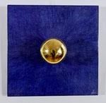 25.4 Poliment vergoldete Kugel auf poliertem blauen Bolus, 30 x 30, 2019