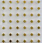 Poliment vergoldete Rauten auf leicht grau-weiß poliertem Hintergrund 50x50cm 2020