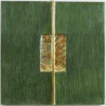 41.2 Poliment vergoldeter Stab auf oxidiertem Metall mit grün poliertem Hintergrund 25x25cm 2020
