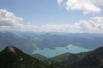 auf dem Gipfel des Herzogstand, Blick auf den Walchensee