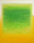 Grünes Feld auf Orange (80x100 cm)