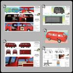 AutoCAD 3D-Abschlussprojekt: Modellierung VW-Bus-Karosserie mit Innenausbau   1-3) Layout-Ansichten mit Renderbildern + Darstellungen aus dem Modellbereich A  • 4) Kamerafahrt (abspielbar ganz unten) • 5) 2D-Darstellung mit Bemaßung