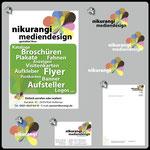1) Anzeige • 2) Logo-Design • 3) Aufkleber • 4) Visitenkarte • 5) Briefpapier