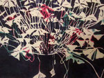 Full Oxalis Furoshiki, edition of 3, 2012; Ink on chirimen fabric, 17 x 18 inches - detail