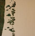 Tree Fungus Furoshiki, edition of 3, 2008; Ink on rayon, 28 1/4 x 26 1/4 inches