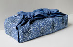 Furoshiki Indigo (Futatsu Tsutsumi), 2007; Watercolor on shaped paper, 10 x 4 x 4 inches