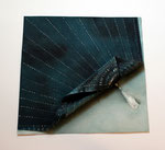 Sashiko Furoshiki #1, 2009; Watercolor on shaped paper, 11 1/2 x 11 1/2  x 1 inches