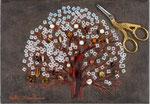 豊穣の木B 15.8×22.7㎝(SM)  2017 キャンバスに油彩・テンペラ・糸・ハサミ(victorinox)