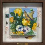 小さなブーケーCadmium yellowーIー 20×20×3.5㎝  2016  キャンバスに油彩・テンペラ(混合技法)・コラージュ