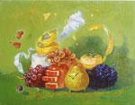 Sap green の秋 31.8×41㎝ 2014  個人蔵 Private Collection  板に油彩・テンペラ・洋金箔(混合技法)