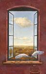 雲のむこうへ 40.5×25.5cm 2003【sold out】 板に油彩・テンペラ(混合技法)