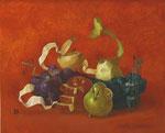 机上の時間 31.8×41㎝ 2012 【sold out】  板に油彩・テンペラ・洋金箔(混合技法)