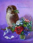 とまり木は Cobalt violet 41×31.8㎝(F6) 2015 個人蔵 Private Collection  板に油彩・テンペラ・洋金箔(混合技法)