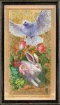 Il vento di primaveraー春の風はー   60×29×3.5㎝ 2017 キャンバスに油彩・テンペラ・洋金箔(混合技法)