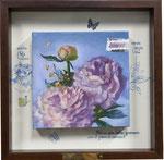 枯れない花ー Cobalt violetー 20×20×3.5㎝  2016  【sold out】キャンバスに油彩・テンペラ(混合技法)・コラージュ