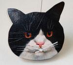 黒白猫ーゆかいなじかんー 13-23×17-20㎝ 2017 板・油彩・テンペラ(混合技法)・ムーブメント