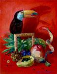 Vermillionの夏 41×31.8㎝(F6) 2015  板に油彩・テンペラ(混合技法)