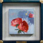花があるからー Cadmium redー 20×20×3.5㎝  2016  キャンバスに油彩・テンペラ(混合技法)・コラージュ