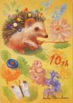 10年目の縫い物 22.7×15.8㎝(SM)  2017【sold out】 板に油彩・テンペラ(混合技法)